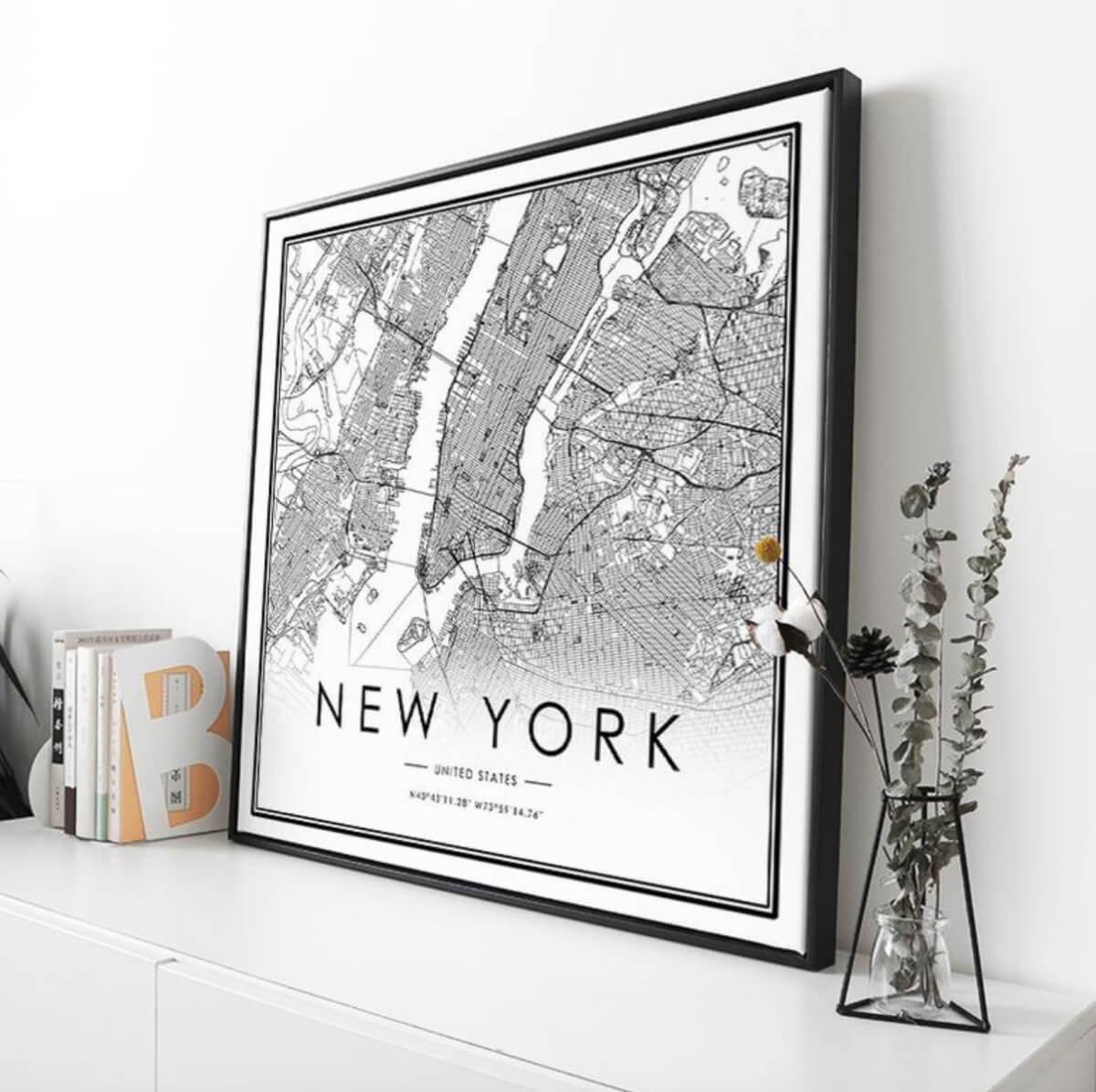 etsy art city map new york