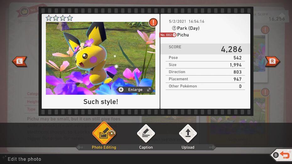 New Pokémon Snap Pikachu Photodex