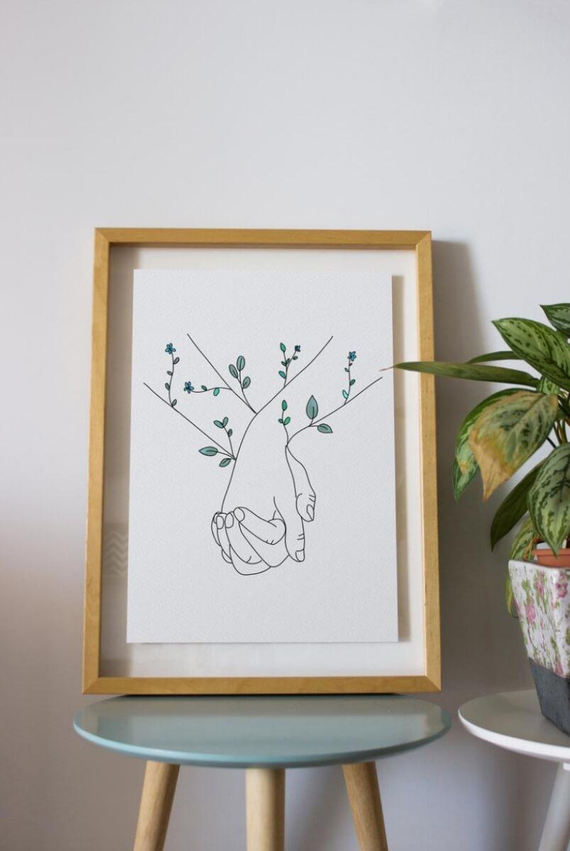 etsy art holding hands plants