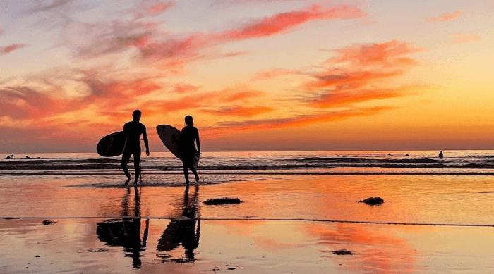 san diego surfing sunset