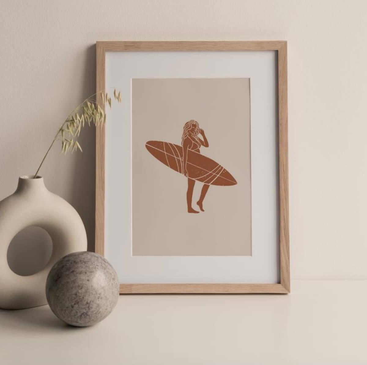 etsy art surfer girl