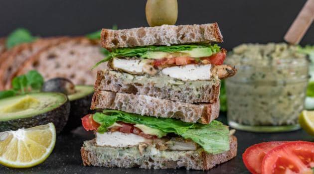 Sweet Simple Vegan: baked tofu and pesto sandwich