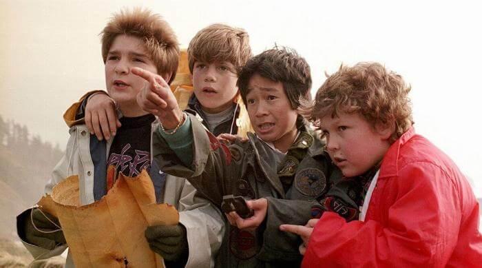 The Goonies looking for treasure