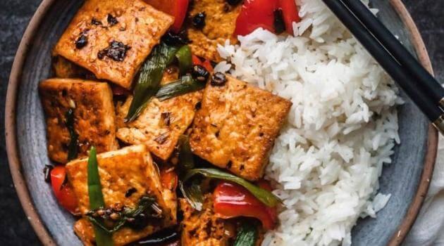 The Plant-Based Wok: pan-fried tofu with black bean sauce