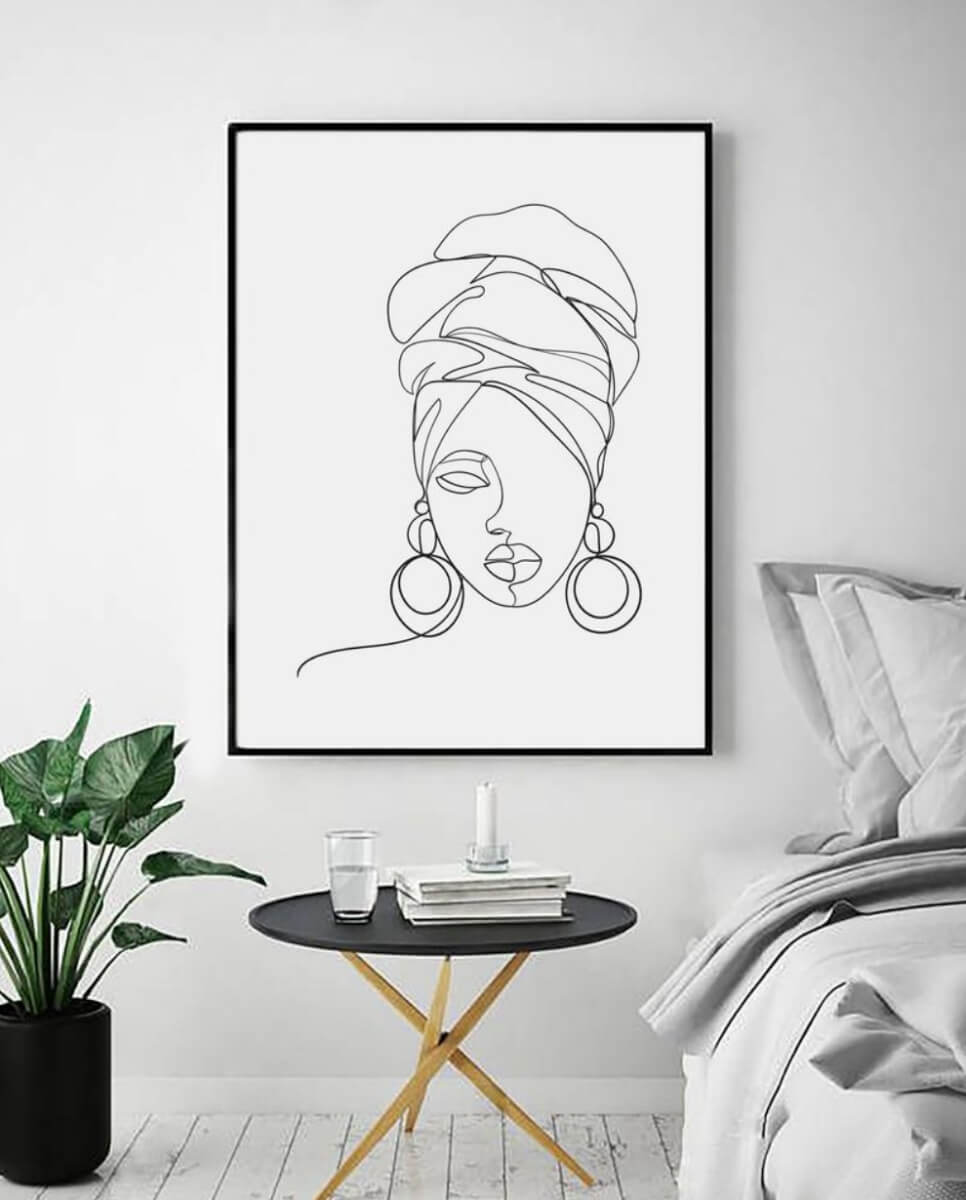 etsy art line illustration woman