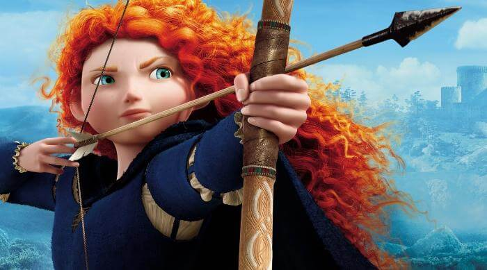Merida from Brave holding her bow and arrow