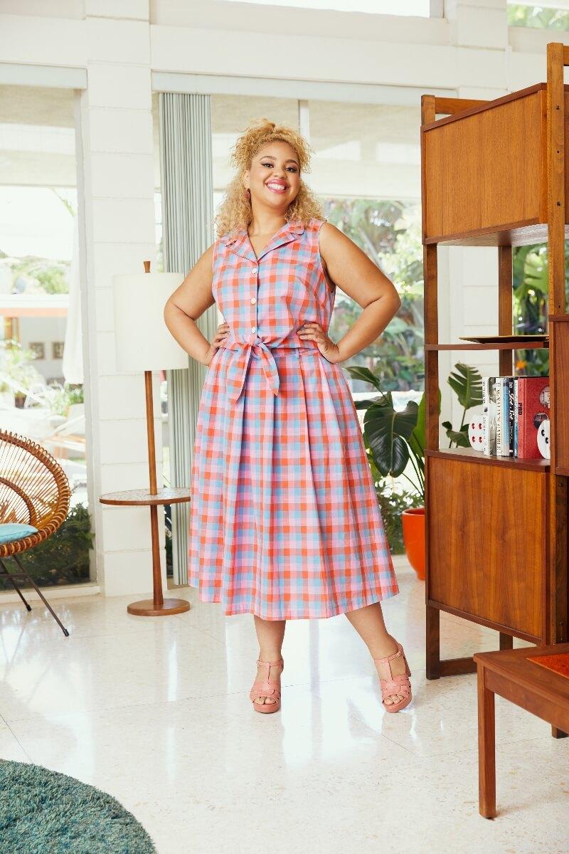modcloth x barbie plaid shirt and skirt