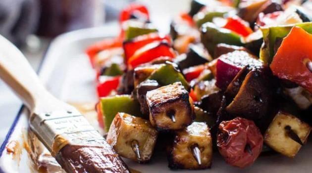 Vanilla and Bean: grilled vegetable and tofu kebab