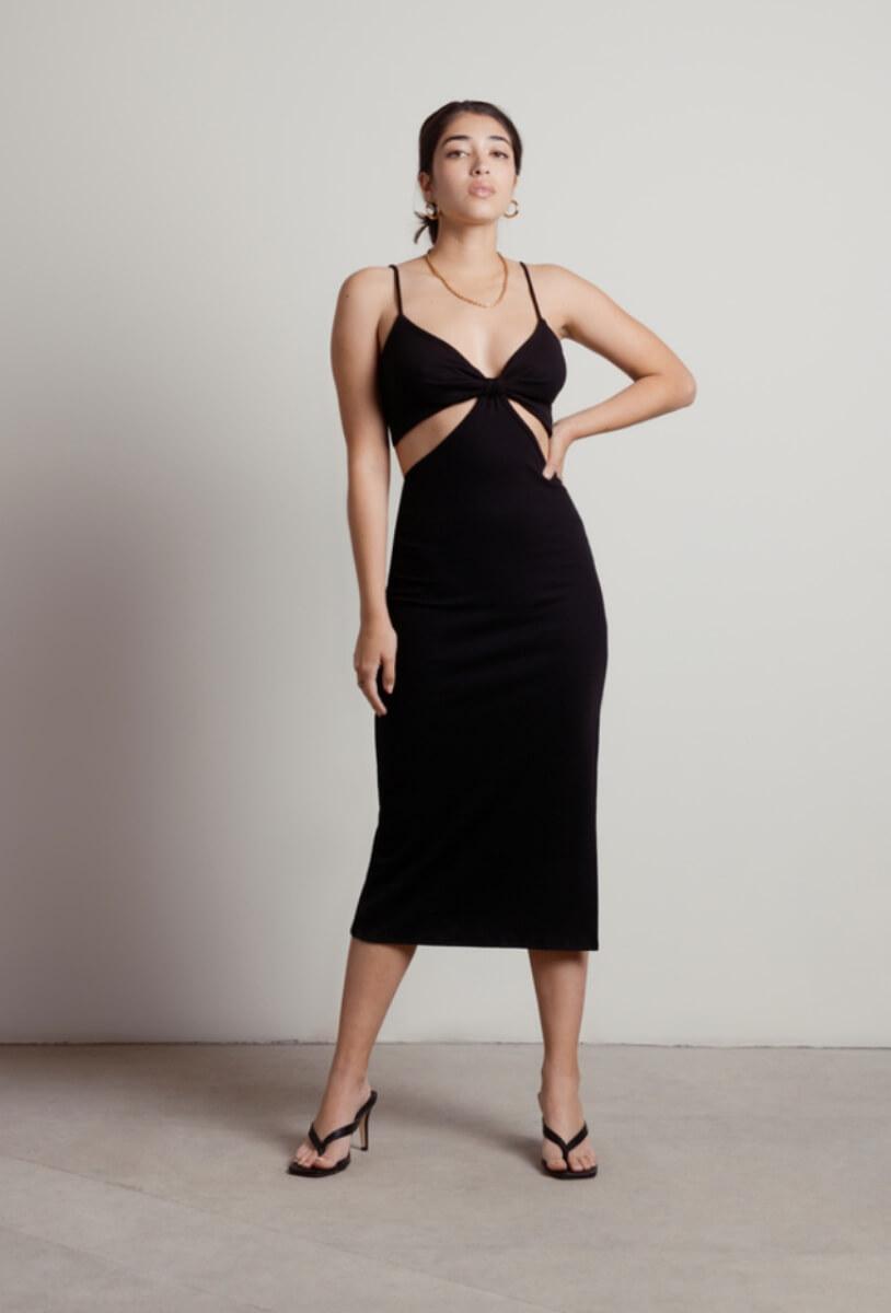 black cutout midi dress