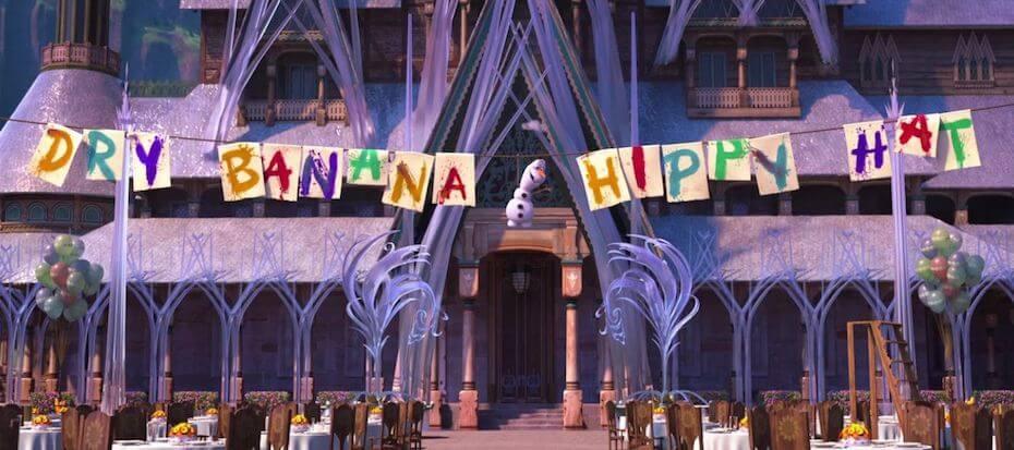 Frozen Fever: Dry Banana Hippy Hat happy birthday anna banner