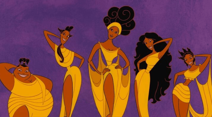 Hercules: The Muses against purple background