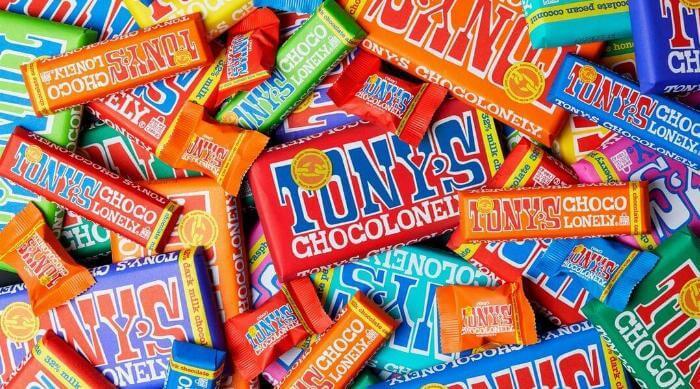 Instagram @tonyschocolonely_us chocolate bars pile