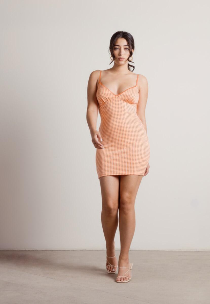 orange gingham mini dress
