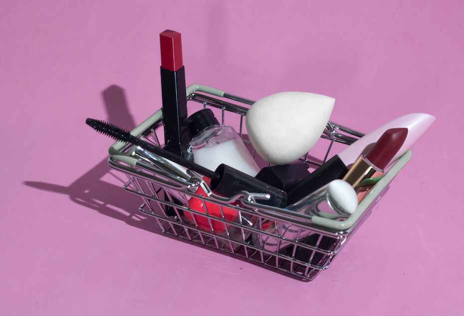 Shutterstock: A,Small,Basket,From,The,Supermarket,With,Makeup,Products.,Decorative
