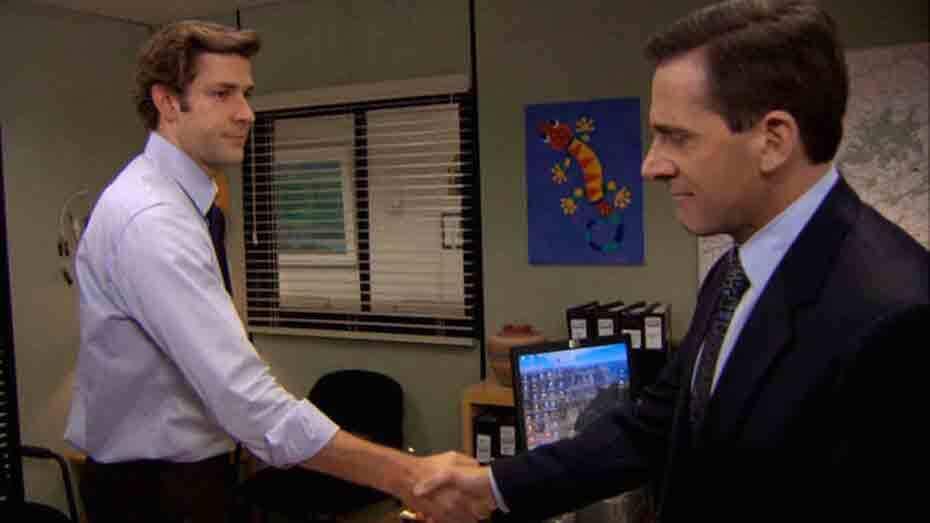 The Office: Goodbye Michael, jim shaking hand