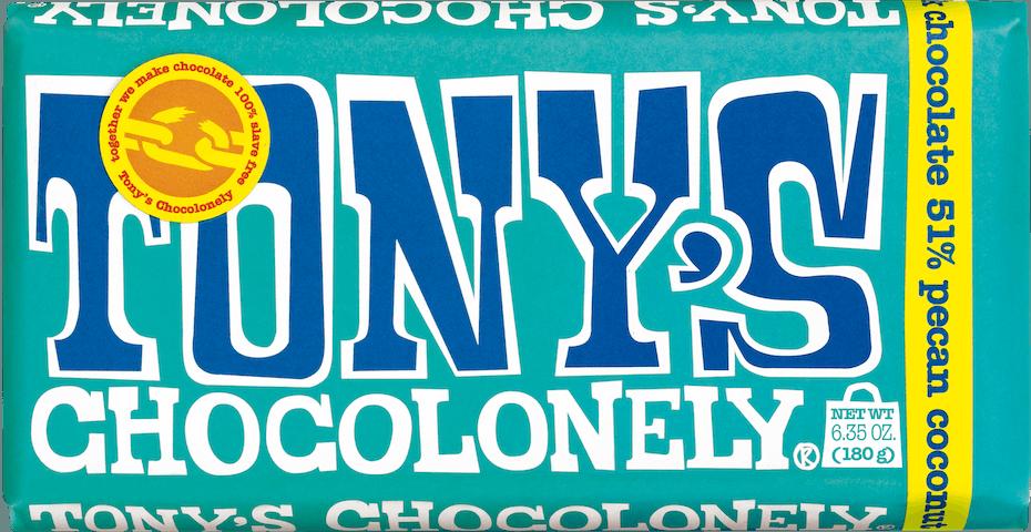 Tonys Chocolonely dark chocolate pecan coconut bar