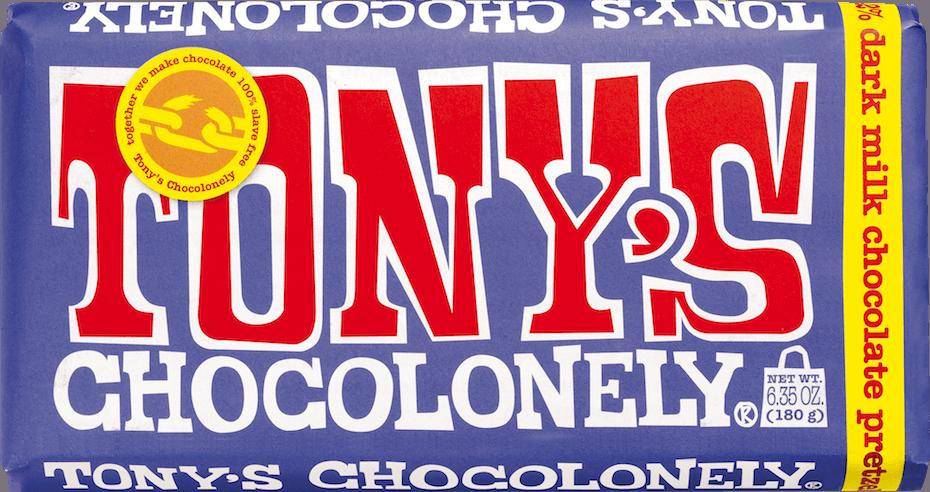 Tonys Chocolonely dark milk chocolate pretzel bar