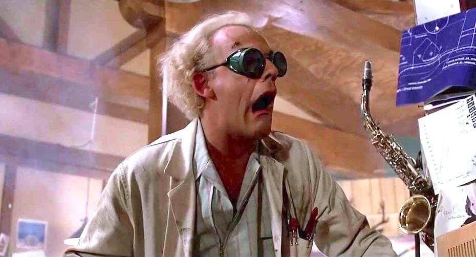 Back to the Future: Doc Brown mouth agape from surprise