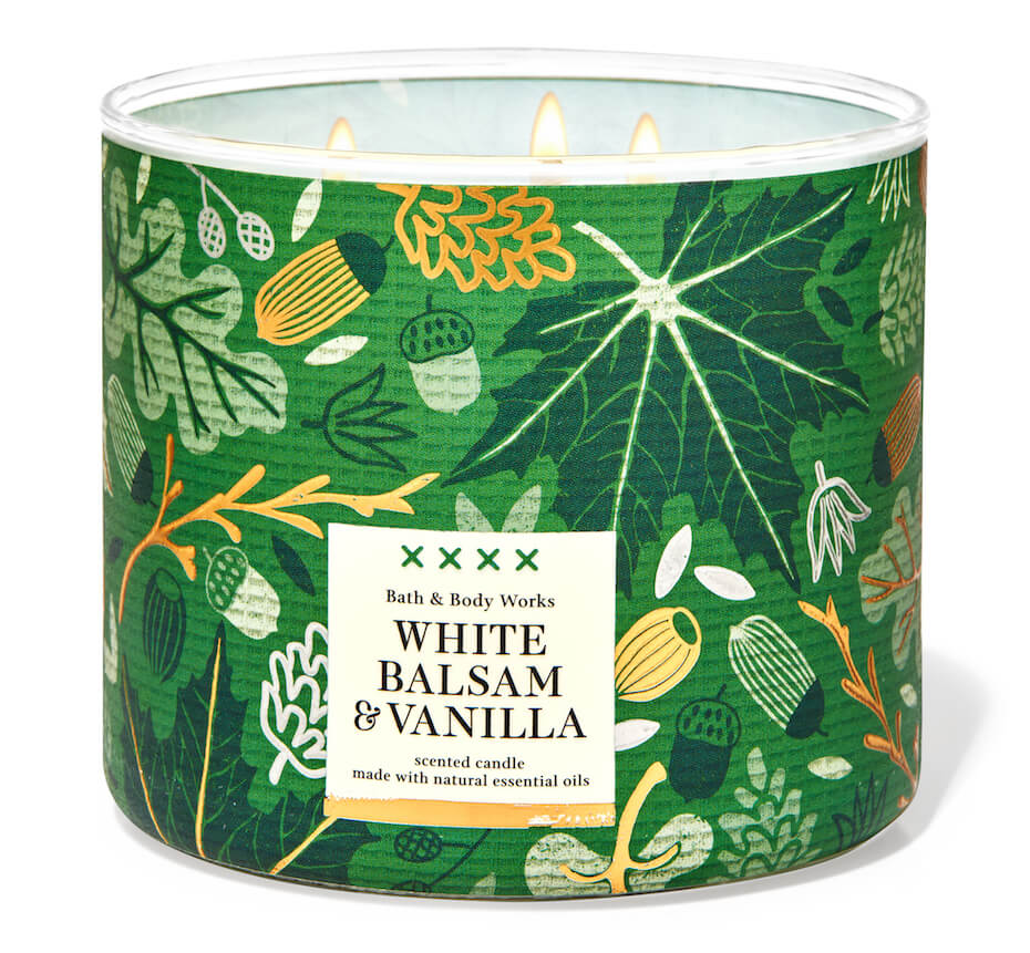 Bath and Body Works white balsam and vanilla candle