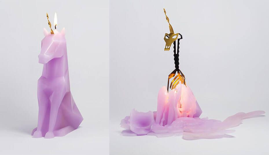 Pyropets unicorn candle