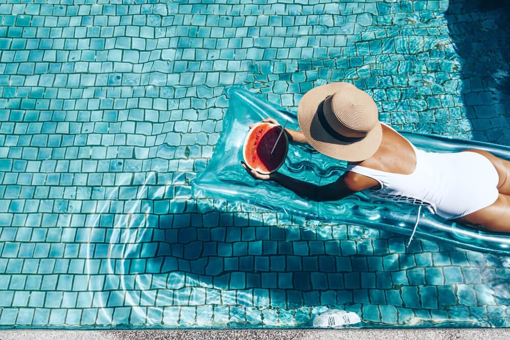 pool girl lounging