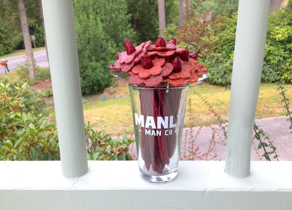Manly Man Jerky Company bouquet at home