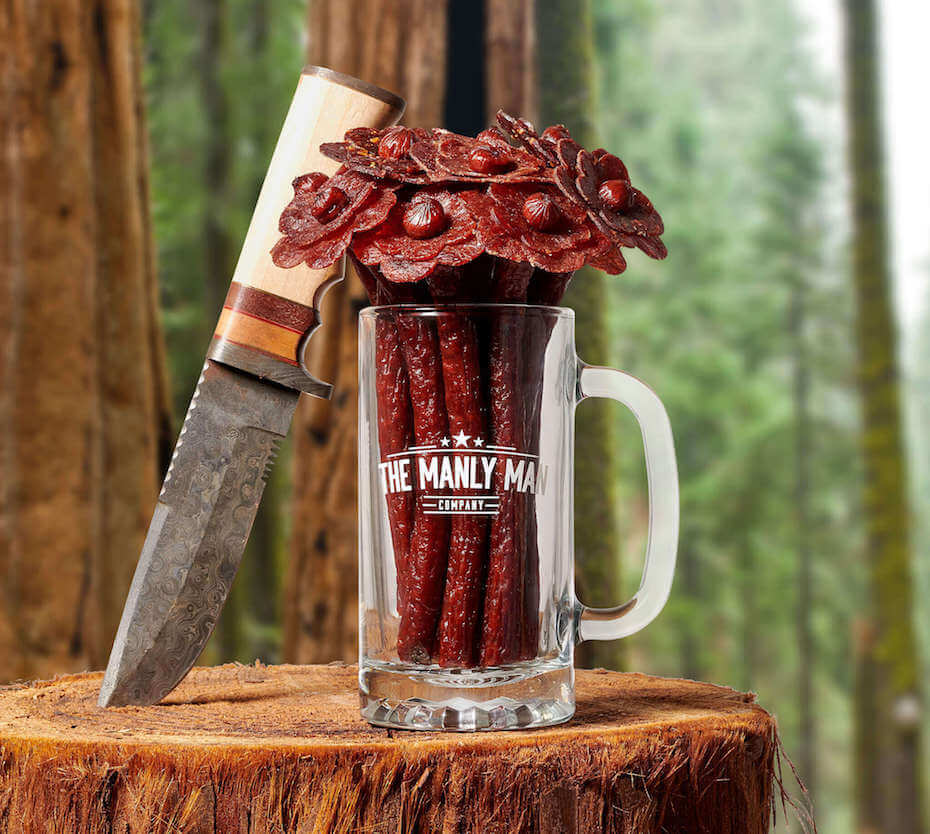 Manly Man flower in mug with knife