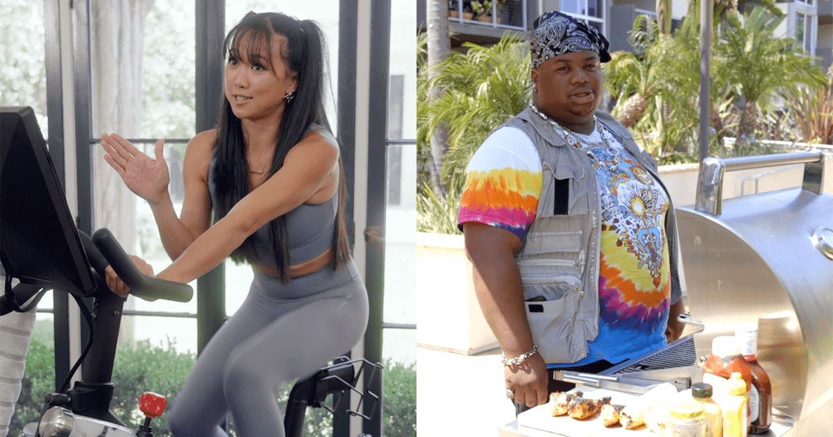 A Review While... Peng Peng Lee on exercise bike and King Bo grilling