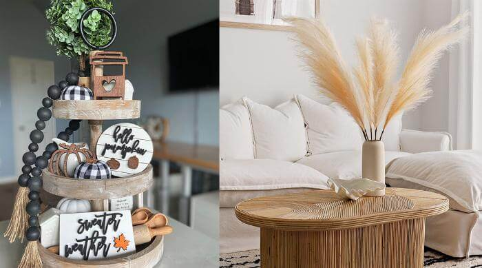 Fall decor tier tray and pampas grass