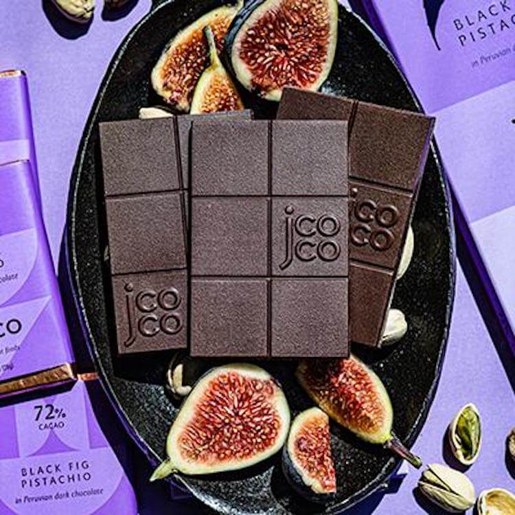 jcoco black fig pistachio chocolate bars