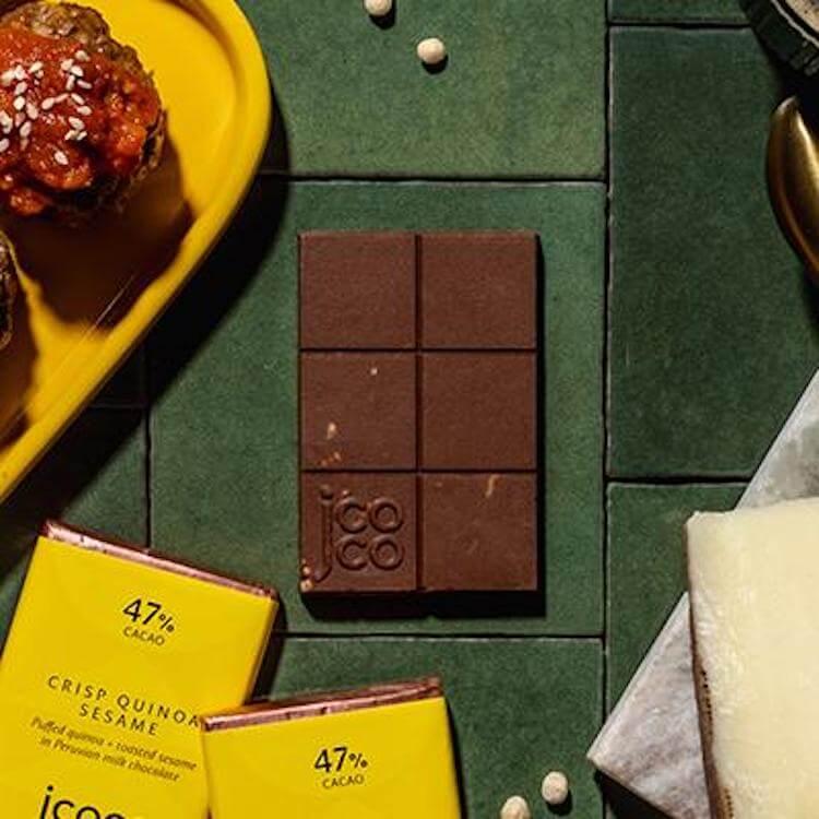 jcoco quinoa sesame chocolate bars