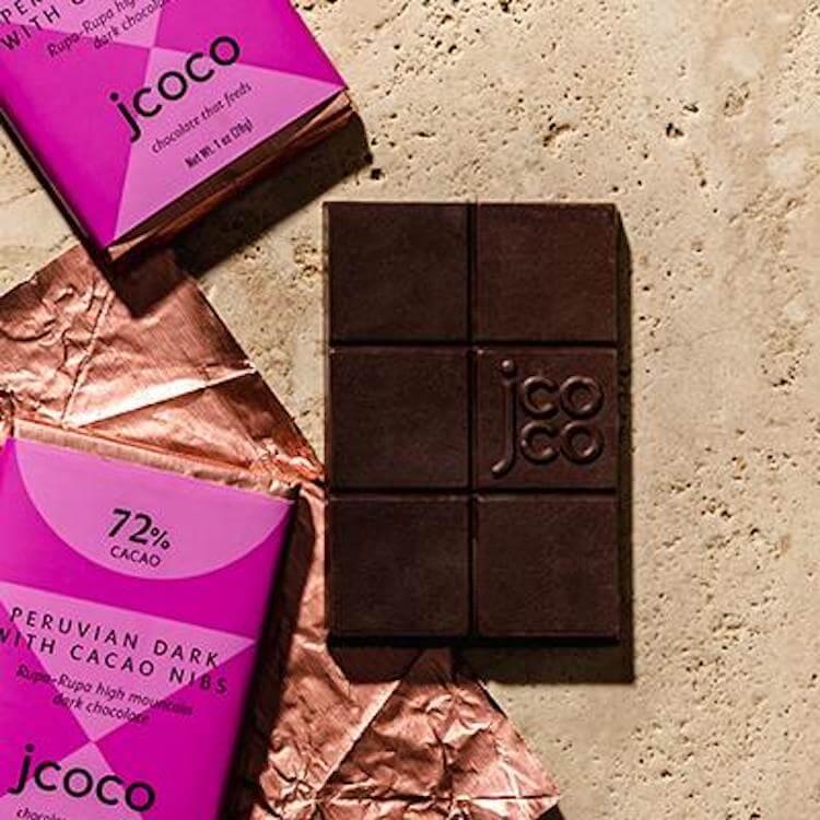 jcoco dark chocolate with cacao nibs chocolate bars