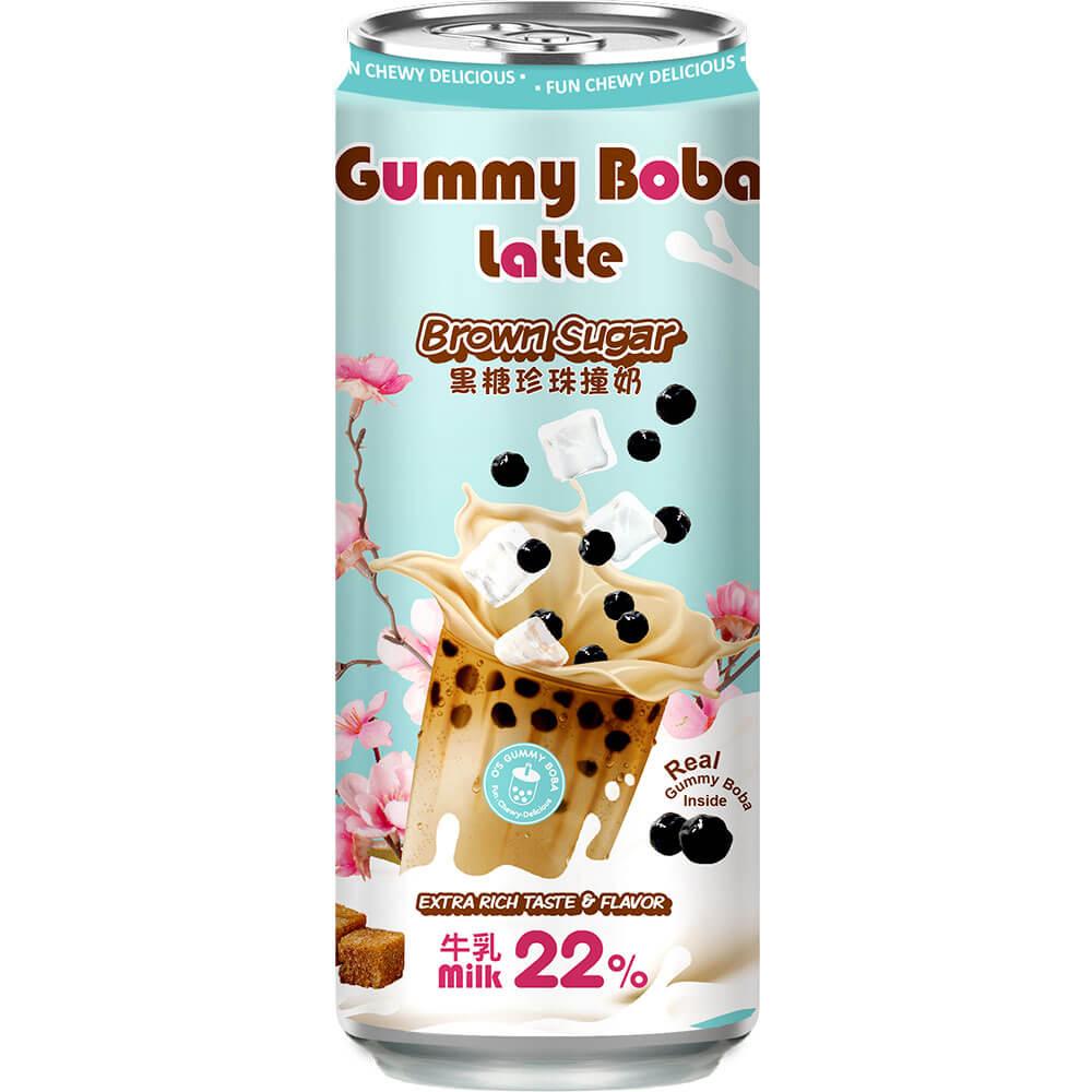 OS bubble gummy boba latte brown